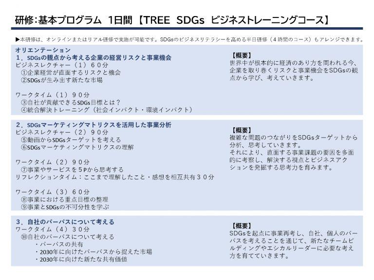 研修:基本プログラム1日間【TREE SDGs ビジネストレーニングコース】